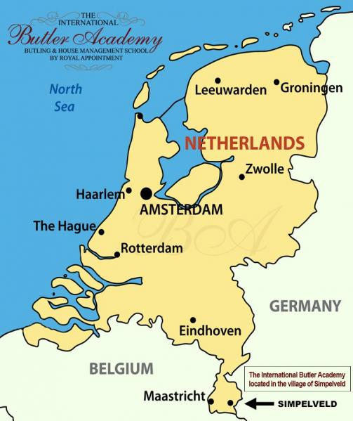 Map Of The Netherlands And Germany.The International Butler Academy The Netherlands